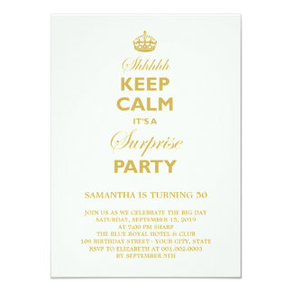 Keep Calm Funny Milestone Surprise Birthday Party Card
