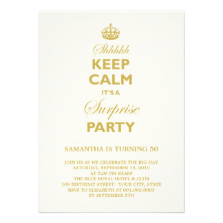 Keep Calm Funny Milestone Surprise Birthday Party Announcement