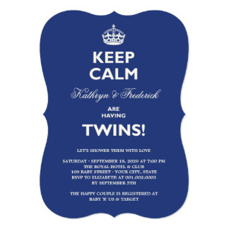 Keep Calm Funny Twins Couples Baby Shower Invite