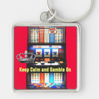 Keep Calm Gamble on Slot Machine Key Ring