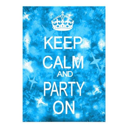 Keep Calm Glitz sparkly blue party invitation