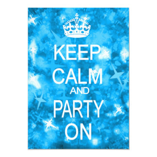 Keep Calm Glitz sparkly blue party invitation