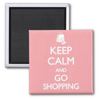 Keep Calm & Go Shopping Square Magnet