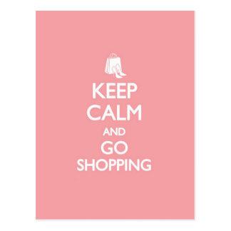 Keep Calm & Go Shopping Postcard
