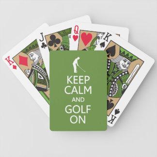 Keep Calm & Golf On custom color playing cards