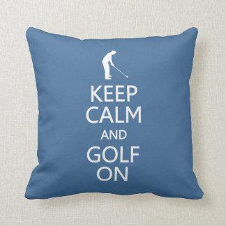 Keep Calm & Golf On custom color throw pillow