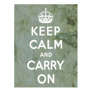 Keep Calm Green Fabric Postcard