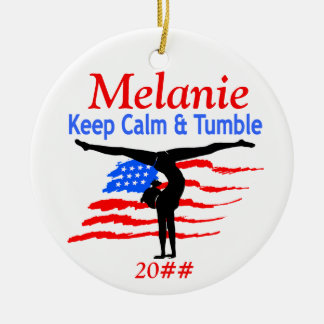 KEEP CALM GYMNAST PERSONALIZED ORNAMENT