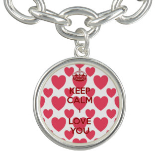 Keep Calm Hearts Charm Bracelet