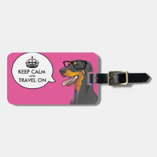 KEEP CALM Hipster Dog Geek Doberman Travel Tag