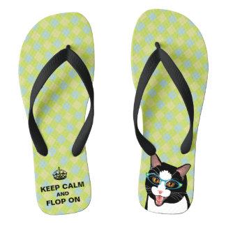 KEEP CALM hipster Tuxedo Cat Summer Fun Flops! Thongs