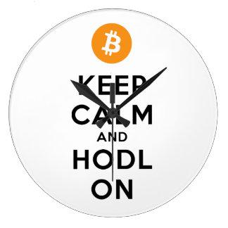 Keep Calm & HODL On Bitcoin Wall Clock