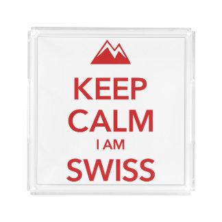 KEEP CALM I AM SWISS ACRYLIC TRAY