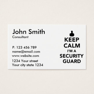 Keep calm I'm a security guard Business Card