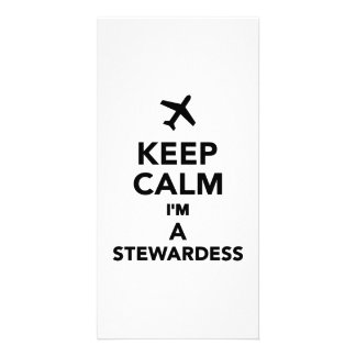 Keep calm I m a Stewardess Photo Card Template
