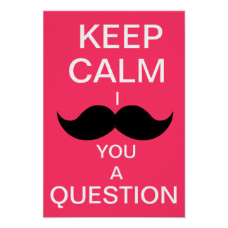 KEEP CALM I MOUSTACHE YOU A QUESTION (hot pink) Poster