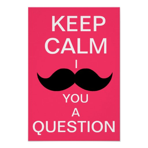 KEEP CALM I MOUSTACHE YOU A QUESTION (hot pink) Print