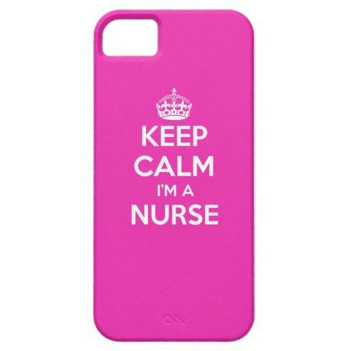 KEEP CALM I'M A NURSE PINK NURSING GIFT iPhone 5 COVER