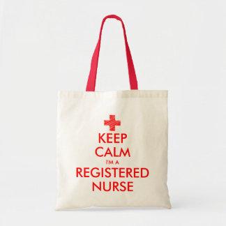 Keep calm i'm a registered nurse tote bag