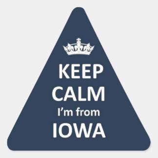 Keep calm I'm from Iowa Triangle Sticker