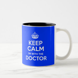Keep Calm I'm With The Doctor (with crown) Two-Tone Mug