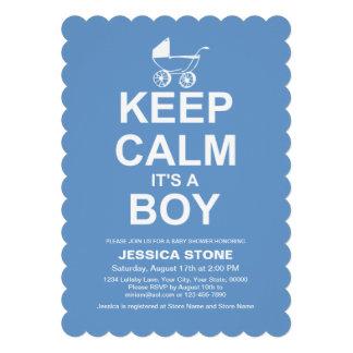 Keep Calm It s A Boy Baby Shower Invitation