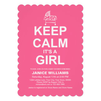 Keep Calm It s A Girl Personalized Invites