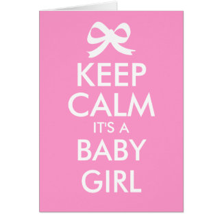 Keep calm it's a baby girl gender reveal cards