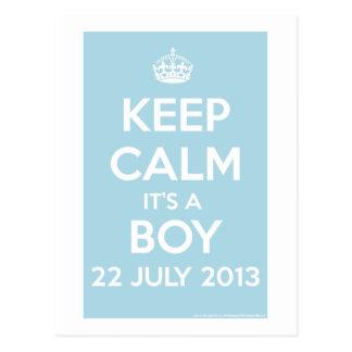 Keep Calm It's A Boy! Postcard