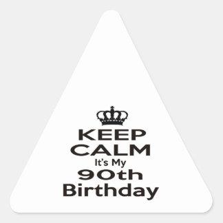 Keep Calm It's My 90th Birthday Triangle Sticker