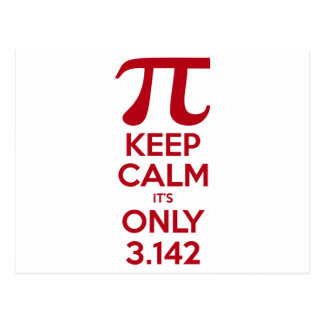 Keep Calm It's Only Pi Postcard