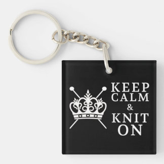 Keep Calm Knit On Crafts {Dark} Double-Sided Square Acrylic Key Ring