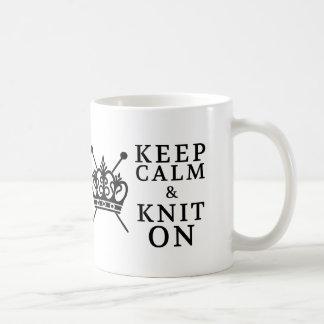 Keep Calm Knit On {Light} Basic White Mug