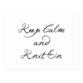 Keep Calm Knit On Postcard