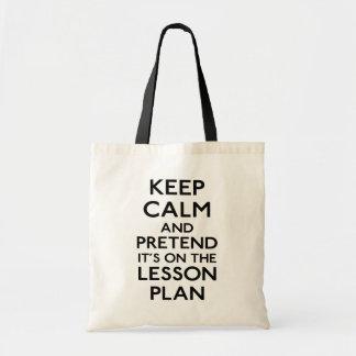 Keep Calm Lesson Plan Budget Tote Bag