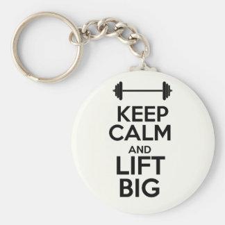 Keep calm & Lift Big Basic Round Button Key Ring