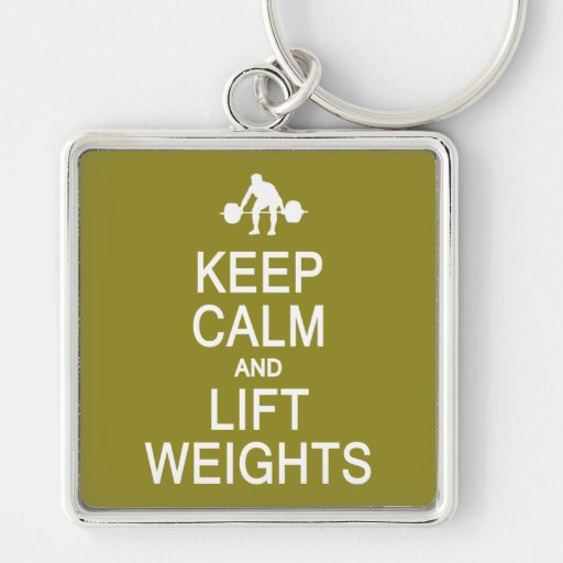 Keep Calm & Lift Weights custom color key chain
