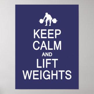 Keep Calm & Lift Weights custom colour poster