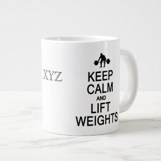 Keep Calm & Lift Weights custom monogram mugs Jumbo Mug