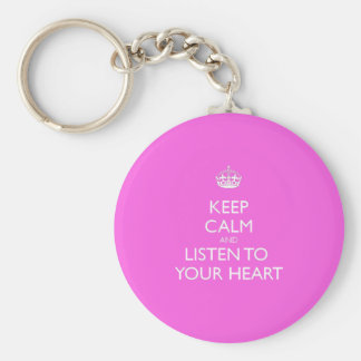Keep Calm & Listen To Your Heart Basic Round Button Key Ring