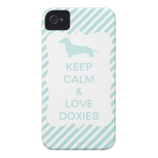 Keep Calm & Love Doxies Blue Stripe iPhone 4 Cases