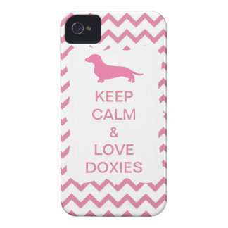 Keep Calm & Love Doxies Pink Zigzag Case-Mate iPhone 4 Cases