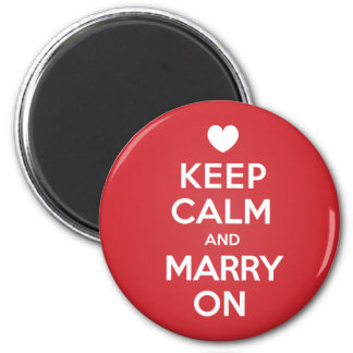 Keep Calm Marry On 6 Cm Round Magnet