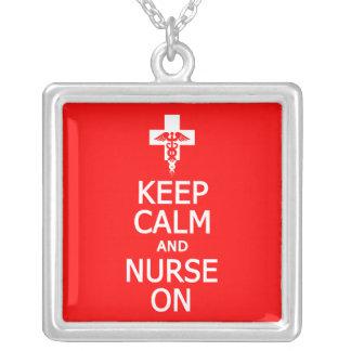 Keep Calm & Nurse On necklace, customizable Silver Plated Necklace