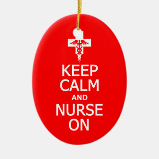 Keep Calm & Nurse On ornament, customize Ceramic Ornament