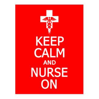 Keep Calm & Nurse On postcard, customize Postcard