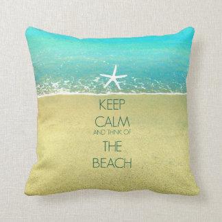 Keep Calm Ocean Wave Beach Sand Pillow