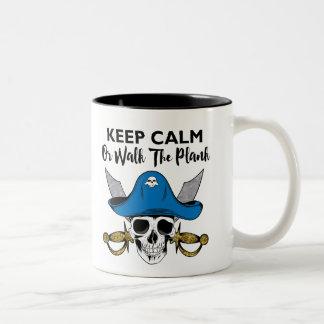 Keep Calm or Walk The Plank Talk Like A Pirate Two-Tone Mug