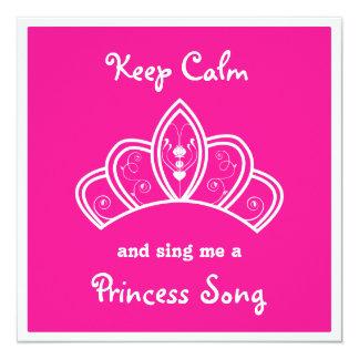 Keep Calm Pink Princess Song Karaoke Party 13 Cm X 13 Cm Square Invitation Card