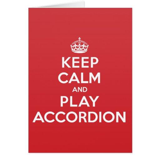 Keep Calm Play Accordion Greeting Note Card